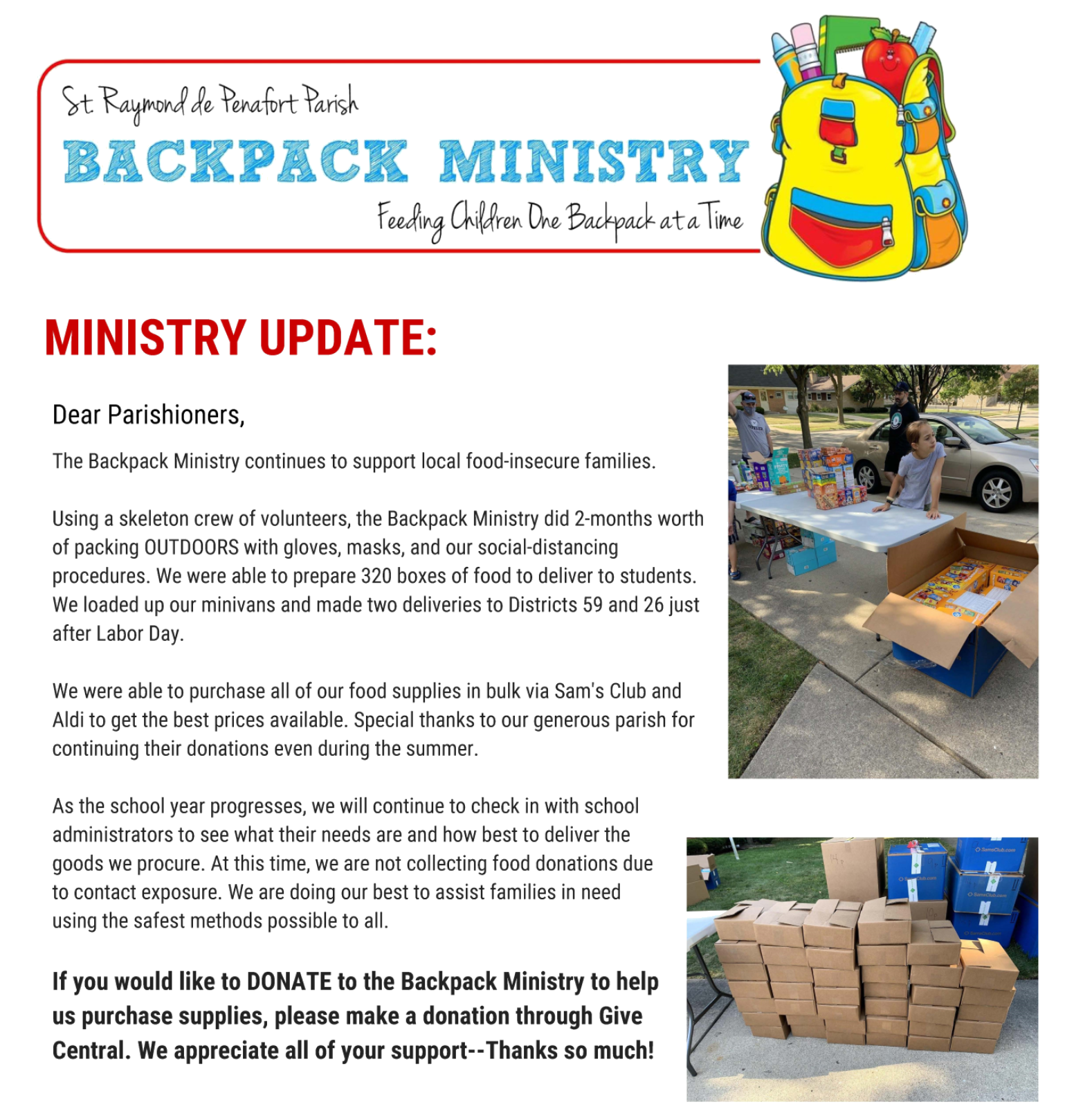 Backpack Ministry Update