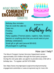 Village Birthday Box donations