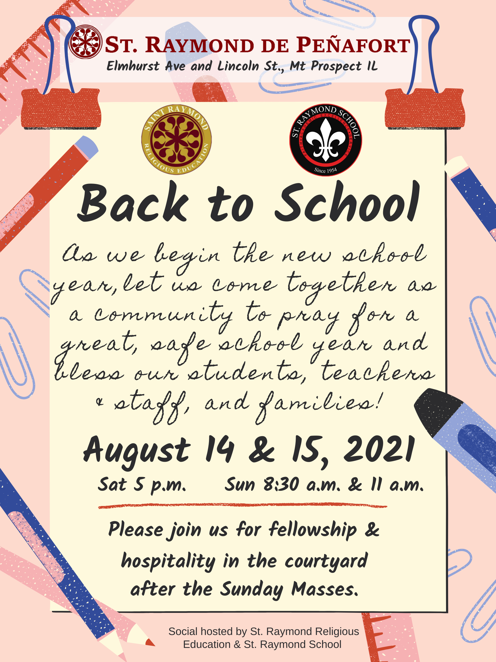 Back to school Blessing of families
