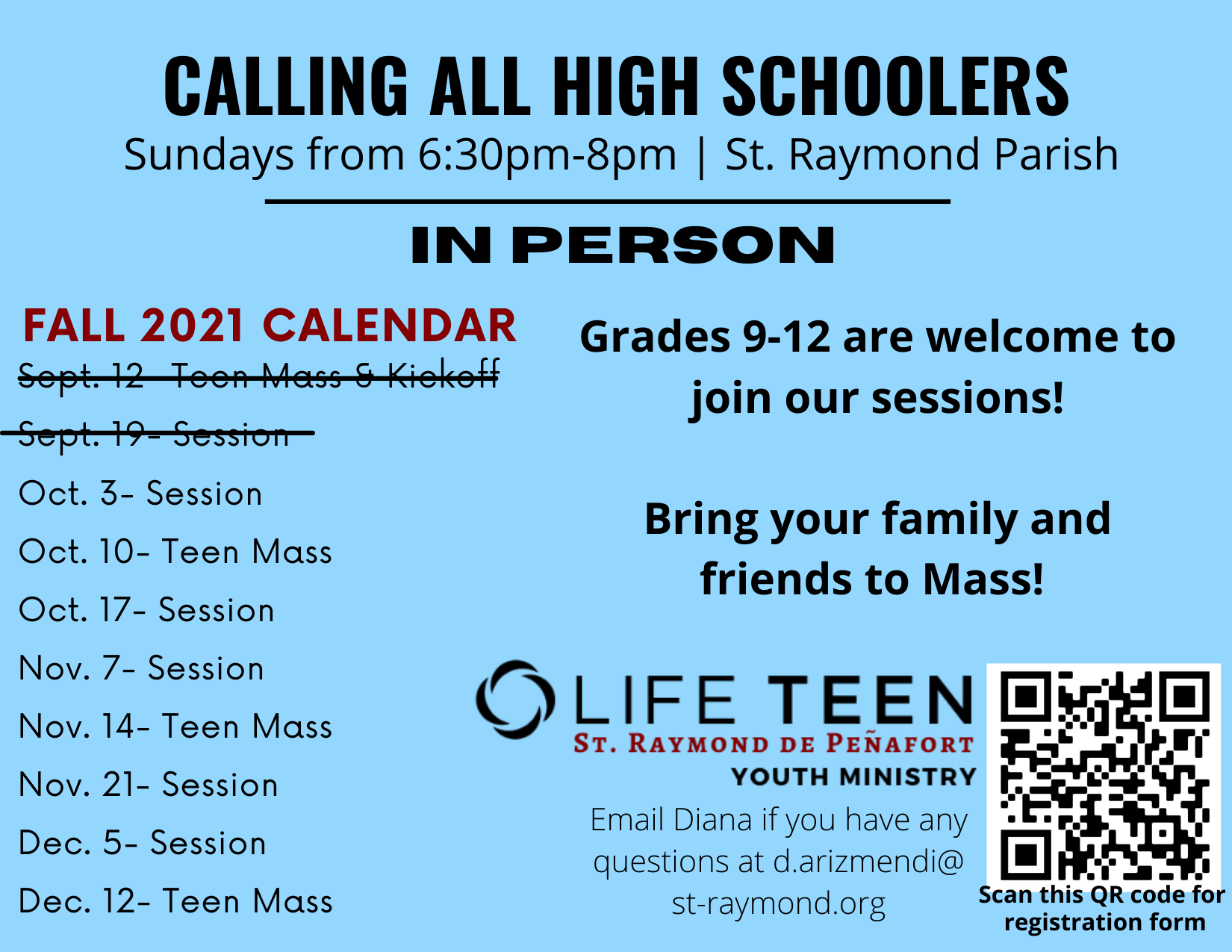Youth Ministry Schedule